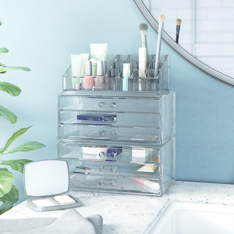 3 Piece  Clear Cosmetic Organizer Set