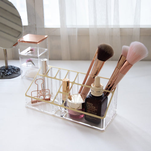 Gold Desktop Acrylic Makeup Organizer, Brush Holder