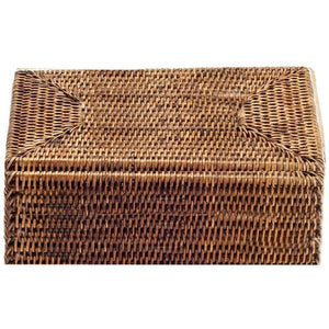 DWBA Rectangular Rattan Cosmetic Storage Makeup Organizer Beauty Box with Lid