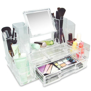 #COM0311 Luxury Acrylic Makeup Organizer with Mirror