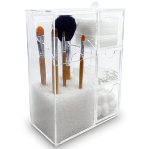 #COM1703 Acrylic Cosmetic Brush Holder with Beads