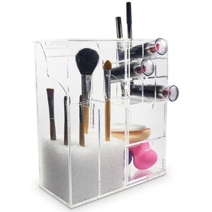 #COM6320 Clear Acrylic Makeup Organizer Case with Beads