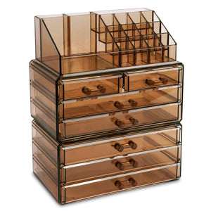 #COMS29150-BR Makeup Organizer Jewelry Storage Case 3 Pieces Set, Brown