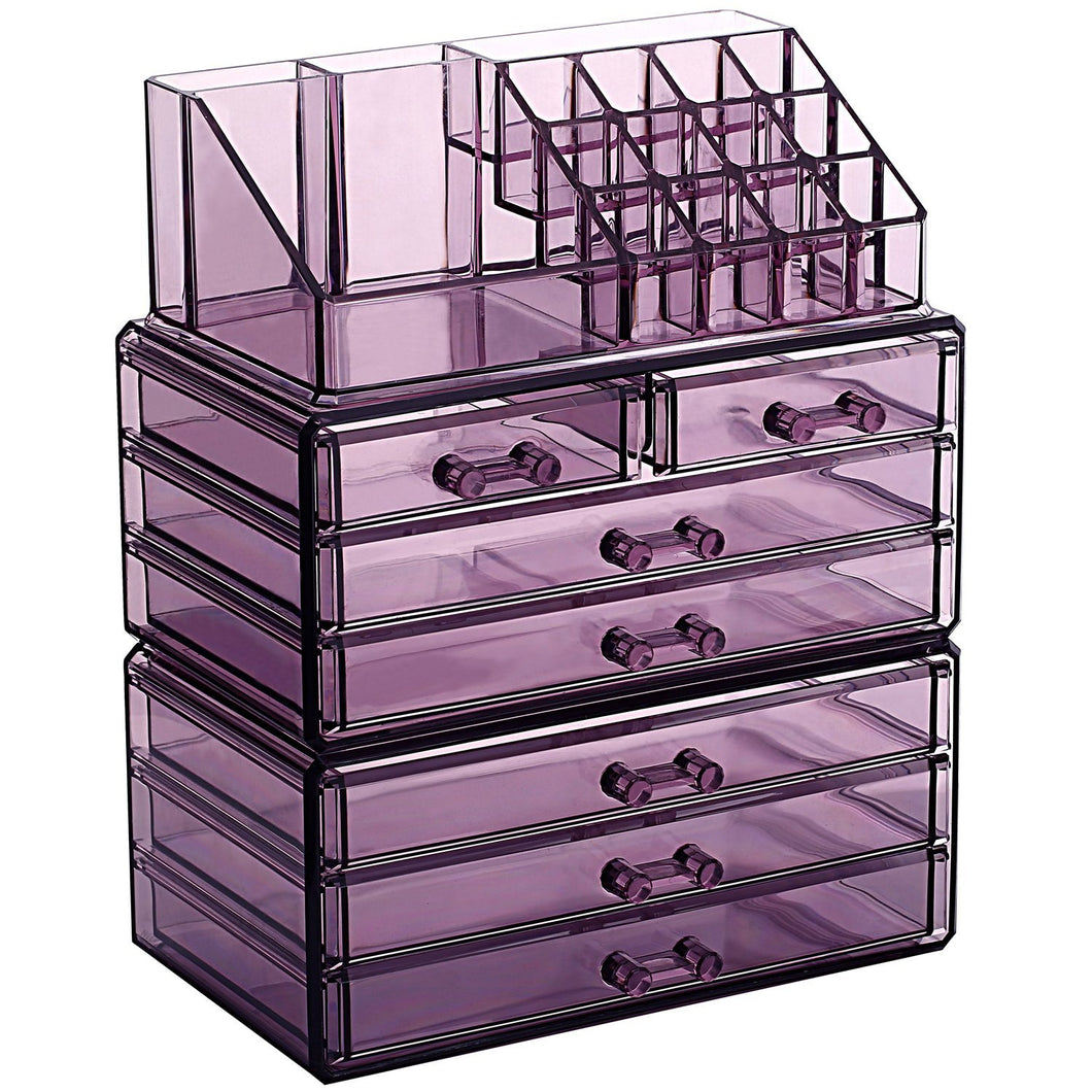 #COMS29150-PU Acrylic Jewelry & Cosmetic/Makeup Storage Display Boxes Set.