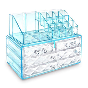 #COMS4196BL Jewelry & Makeup Organizer, Blue Diamond Pattern