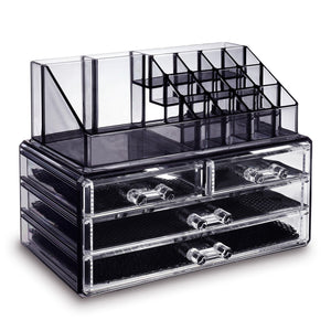 #COMS4396BK Jewelry and Makeup Organizer Two Pieces Set, Black