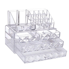 Load image into Gallery viewer, #COMS8246 Acrylic Diamond Pattern Makeup & Jewelry Organizer Two Pieces Set
