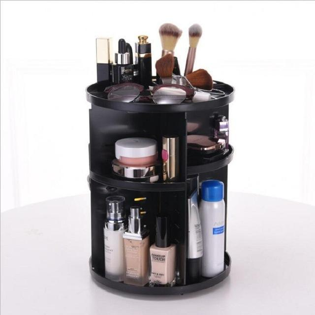 360-degree Rotating Makeup Organizer Box Brush Holder Jewelry Organizer Case Jewelry Makeup Cosmetic Storage Box