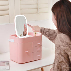 Multifunctional Makeup Organizer Large Cosmetic Jewelry Storage with LED Mirror