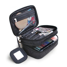 Load image into Gallery viewer, Large Double Layers Travel Cosmetic Bag Portable Makeup Organizer Toiletry Storage Bag