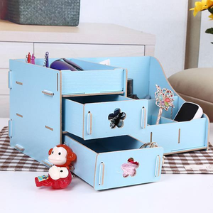 Assembly Wooden Makeup Organizer Box Drawer Cosmetics Storage Toiletry Container Case Desktop Home