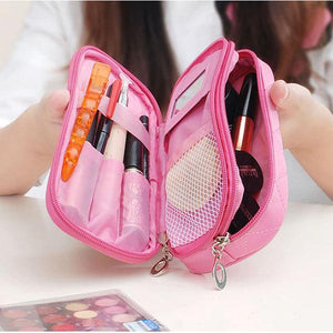 Portable 2 Layers Travel Storage Bag Colorful Cosmetic Makeup Organizer Toiletry Storage Bag