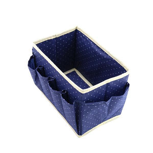 Dot Pattern Non-Woven Foldable Cosmetic Storage Box With 8 Pockets