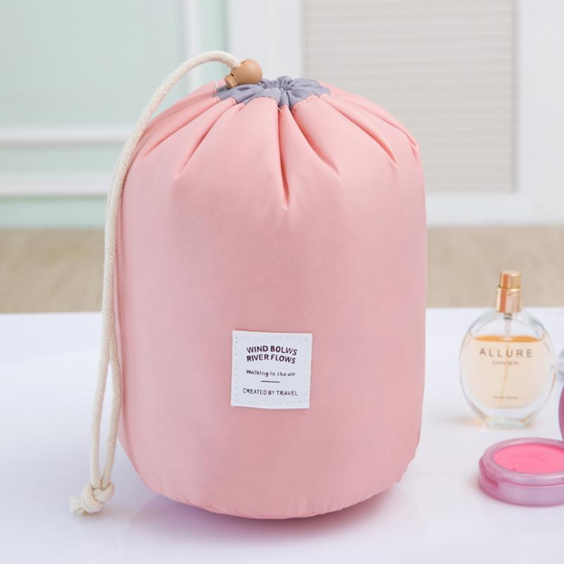 Drawstring barrel shaped women cosmetic Bag High quality makeup organizer storage bags Travel toiletry kit