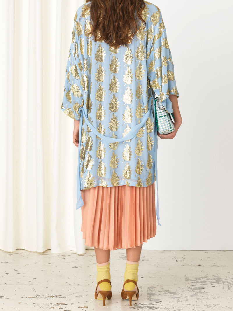 Becksöndergaard, Liberte Leaf Kimono - Powder Blue, clothing, clothing, outlet, outlet