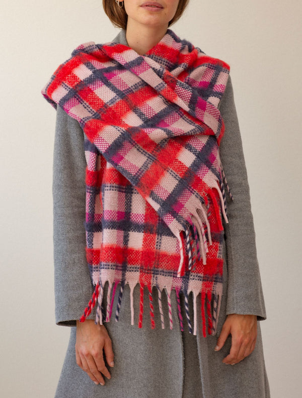 Becksöndergaard, Check Sillian Scarf  - Red, scarves, scarves