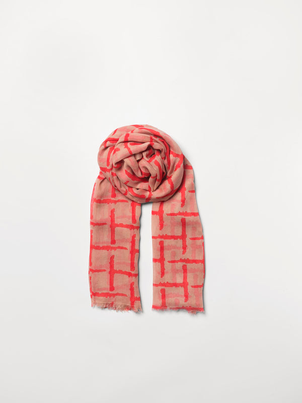 Becksöndergaard, Gridia Como Scarf  - Sugar Coral, scarves, outlet flash sale, outlet flash sale, mid season sale, mid season sale, sale, sale