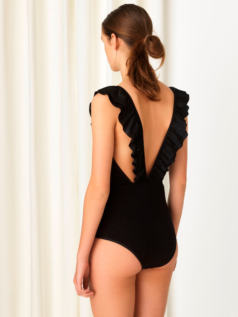 Becksöndergaard, Waffle Teo Swimsuit - Black, outlet flash sale, outlet flash sale