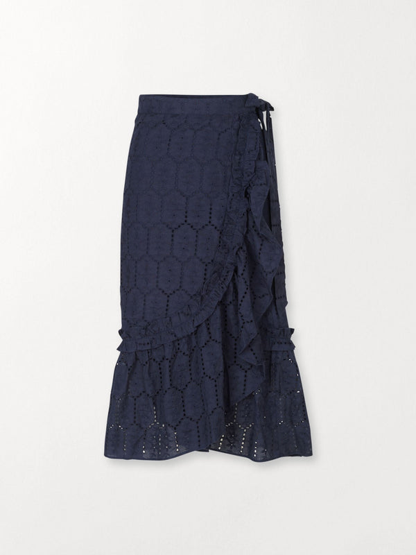 Becksöndergaard, Anglaise Camillia Long Skirt  - Navy Blue, clothing, clothing, outlet, outlet