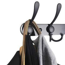 Load image into Gallery viewer, Online shopping webi coat rack wall mounted 30 inch 8 tri hooks 24 hooks decorative coat hat hook rack heavy duty triple hook rail wall hanging hooks for bathroom kitchen office entryway closet black 2 packs