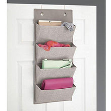 Load image into Gallery viewer, Discover the idesign interdesign wall mount over door fabric closet storage clutch purses handbags scarves linen aldo hanging 4 pocket organizer