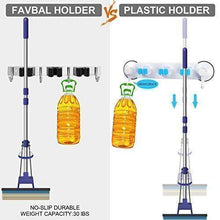 Load image into Gallery viewer, Get favbal broom mop holder wall mount stainless steel wall mounted storage organizer heavy duty tools hanger with 3 racks 4 hooks for kitchen bathroom closet garage office garden