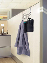 Load image into Gallery viewer, Selection over the door rack with hooks 5 hangers for towels coats clothes robes ties hats bathroom closet extra long heavy duty chrome space saver mudroom organizer by kyle matthews designs