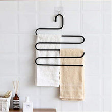 Load image into Gallery viewer, Organize with ds pants hanger multi layer s style jeans trouser hanger closet organize storage stainless steel rack space saver for tie scarf shock jeans towel clothes 4 pack