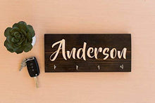 Load image into Gallery viewer, Results personalized wall key hanger unique custom key ring jewelry rack holder customize with your name dark rustic natural wood 4 hooks decorative kitchen garage living closet