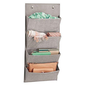 Buy now idesign interdesign wall mount over door fabric closet storage clutch purses handbags scarves linen aldo hanging 4 pocket organizer