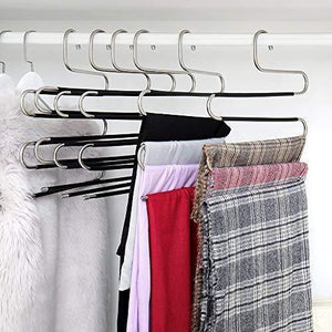 Home ziidoo new s type pants hangers stainless steel closet hangers upgrade non slip design hangers closet space saver for jeans trousers scarf tie 6 piece 1