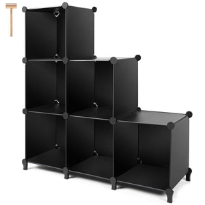 Order now cube storage 6 cube bookshelf closet organizer storage shelves cubes organizer plastic bookcase for bedroom living room office black