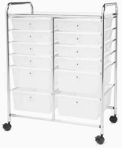 Best seller  clear plastic storage cart rolling wheels 12 drawers kithcen home craft organizer rectangular storage toys accessories shoes files closet 6 tier stainless steel ebook by easy fundeals