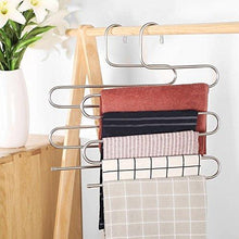 Load image into Gallery viewer, Related 8 pack multi pants hangers rack for closet organization star fly stainless steel s shape 5 layer clothes hangers for space saving storage