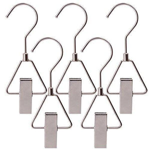 Try aligle energy chrome steel heavy duty hanger clips hooks portable laundry hook 360 swivel joint triangle hooks metal clip for laundry drying hanging organizer of boots shoes closet 5 pcs