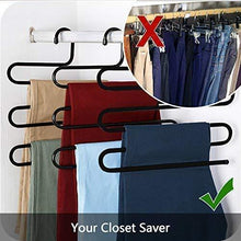 Load image into Gallery viewer, Products ds pants hanger multi layer s style jeans trouser hanger closet organize storage stainless steel rack space saver for tie scarf shock jeans towel clothes 4 pack