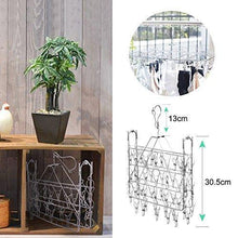 Load image into Gallery viewer, Budget friendly rosefray laundry clothesline hanging rack for drying sturdy 34 clips collapsible clothes drying rack great to hang in a closet on a shower rod and outside on a patio or deck