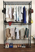 Load image into Gallery viewer, Home hindom free standing closet garment rack with wheels and side hooks 3 tiers large size heavy duty rolling clothes rack closet storage organizer us stock