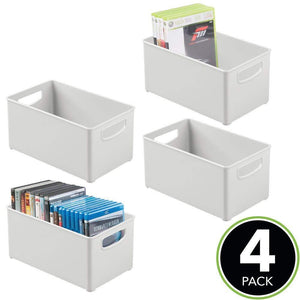 Try mdesign plastic stackable home storage organizer container bin box with handles for media consoles closets cabinets holds dvds blu ray video games gaming accessories 4 pack light gray