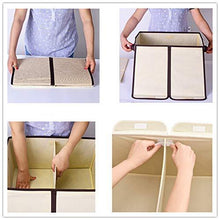 Load image into Gallery viewer, Try large fabric storage bins with lids and removable dividers collapsible linen storage boxes containers for toy nursery closet shelf living room bedroom organize2 pack beige