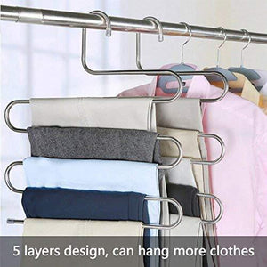Try ds pants hangers s shape trousers hangers stainless steel clothes hangers closet space saving for pants jeans scarf hanging silver 4 pack with 10 clips