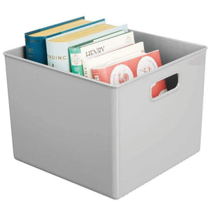 Amazon mdesign plastic home storage organizer bin for cube furniture shelving in office entryway closet cabinet bedroom laundry room nursery kids toy room 10 x 10 x 8 4 pack gray