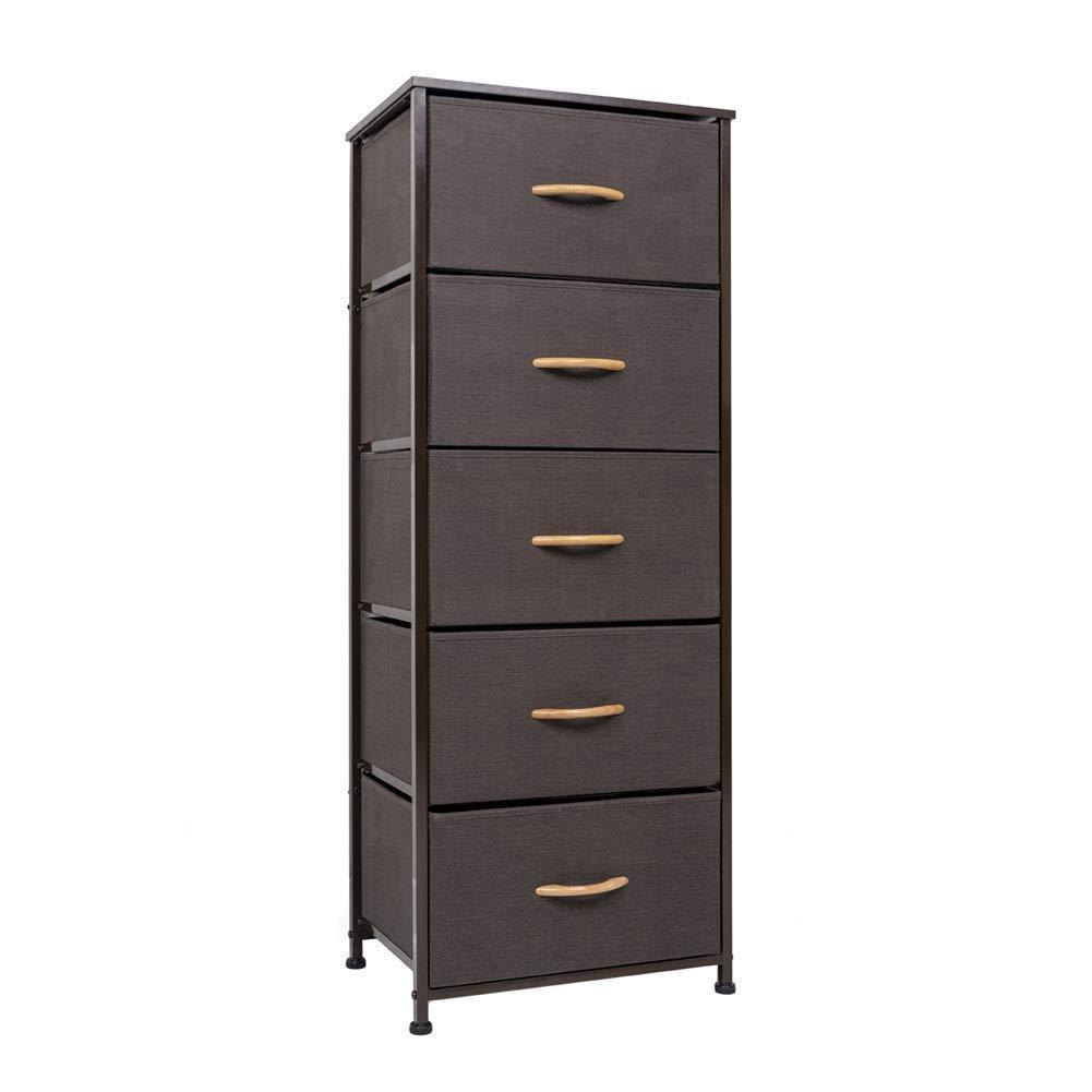 Buy crestlive products vertical dresser storage tower sturdy steel frame wood top easy pull fabric bins wood handles organizer unit for bedroom hallway entryway closets 5 drawers brown