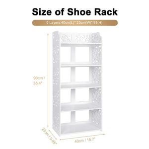 Home ejoyous 5 tier shoes rack white wood plastic modern space saving display shoe tower free standing shoes storage organizer closet shelves holder container for home office support hold 10 pair
