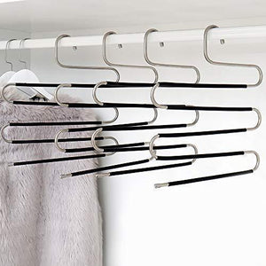 New ziidoo new s type pants hangers stainless steel closet hangers upgrade non slip design hangers closet space saver for jeans trousers scarf tie 6 piece 1
