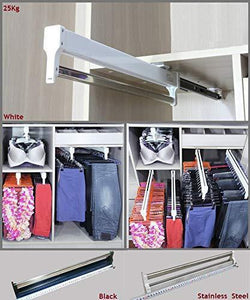 Top premintehdw top mount pull out pull out wardrobe closet cloth jacket hanger hanging rack bar ball bearing slide heavy duty
