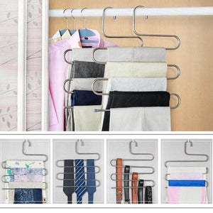 Latest ahua 4 pack premium s type clothes pants hanger s shape stainless steel space saving hanger saver organization 5 layers closet storage organizer for jeans trousers tie belt scarf