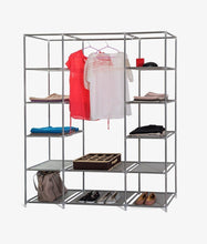 Load image into Gallery viewer, Products dream palace portable fabric wardrobe with shelves covered closet rack with bonus sock organizer hanger pack extra wide 59 white