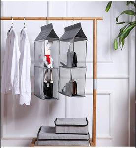 Buy now aoolife hanging purse handbag organizer clear hanging shelf bag collection storage holder dust proof closet wardrobe hatstand space saver 4 shelf grey