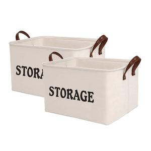 Best seller  shinytime storage baskets bins large organizer toy laundry storage basket for kids pets home living room closet beige 2pcs